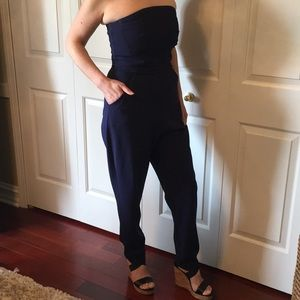 Strapless navy blue romper